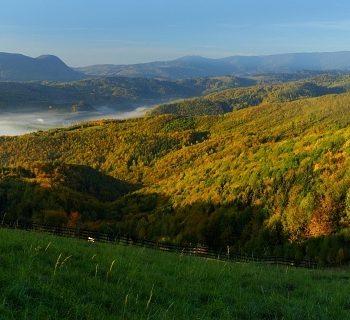 Ranné hmly okolo Dobšinej z Dobšinského kopca. V pozadí Radzim